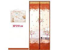 Антимоскітні сітки (кавовий колір c малюнком) на двері на магнітах. 90*210см
