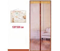 Антимоскітні сітки (кавовий колір) на двері на магнітах 120*220см
