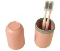 Набір для ванної дорожній Stenson R87766 2 щітки в футлярі, рожевий