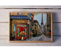 Піднос на подушці BST 46*32 дерев'яний Париж вулиця