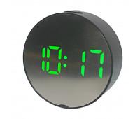 Годинники настінні із зеленим підсвічуванням DT-6505 5427, чорні