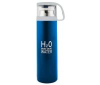 Вакуумний Термос H2O 4784 500мл з чашкою, блакитний