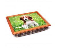Піднос з подушкою BST 040291 44*36 коричневий собака на поле з ромашками