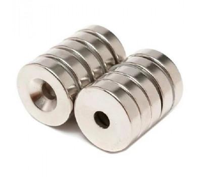 Неодимові магніти N50 з отвором, 18х4 мм, 10 шт